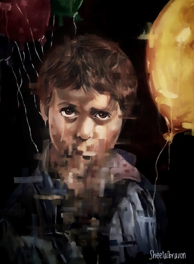 Painting of a boy with sad eyes and mouth blurred  , painted by Aditya Vasan